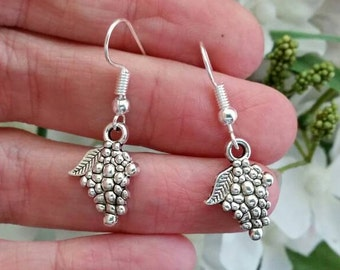 Grape Charm earrings - Simple Grape Cluster Earrings - Silver Charms - Womens Wine Lover Jewelry Accessories