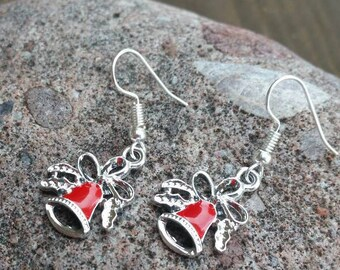 Little Silver and Red Bells Charm Earrings with Bow Womens Jewelry - Valentine Earrings - Mothers Day Gifts - Christmas Holiday Accessories