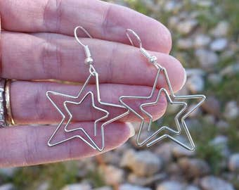 Silver Star Paperclip Earrings - Dallas Cowboy Fan Earrings - Repurposed Jewelry