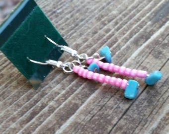 Blue and Pink Beaded Earrings - Turquoise Chip bead earrings with pink accents