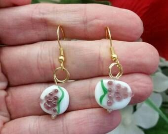 Purple Grapes Lampwork Bead Glass Wine Charm Earrings - Charming Wine Lover Jewelry