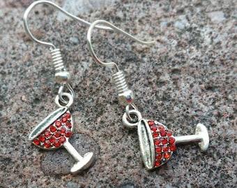 Red Rhinestone Wine Glass Charm Earrings - Womens Fashion Jewelry - Fun Charming Accessories - Teacher Gifts