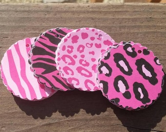 10 Bright Pink Animal Print Scallop Gift Tags - Glossy Hang Tags - Cardstock Party Favors - Zebra and Leopard