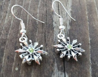 Light Green Snowflake Earrings with green rhinestone bead Winter Christmas Holiday Jewelry - Womens Earrings - Charms - double sided charms