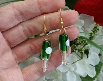 Green Grape Wine Glass Lampwork Glass Bead Earring / Wine club earrings / womens jewelry beaded accessories - Long Stem Wine Glasses