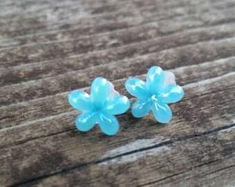Blue Flower Enamel Charm Post Earrings - Spring Easter Jewelry - Plastic charm earrings - girls accessories - small earrings