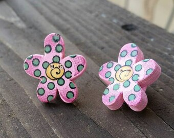 Pink, Green, and Yellow Wooden Button Clip on Earrings - colorful womens earrings - Spring Flowers - Gift Ideas