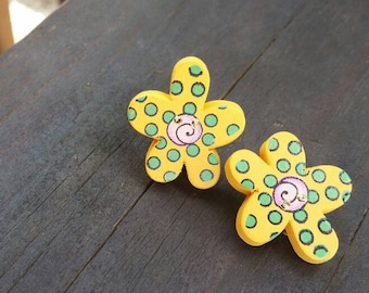 Yellow, Pink, and Green Wooden Button Clip on Earrings - colorful womens earrings - Spring Flowers - Gift Ideas - Wood Buttons