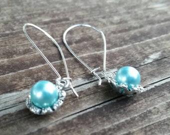 Blue Pearl Flower Charm Earrings - Long Elegant Formal Jewelry - Bridal Accessories - Pearl Flowers