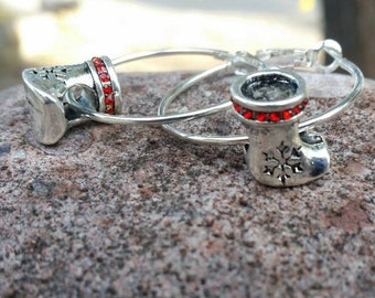 Silver and Red Rhinestone Christmas Stocking with Snowflakes Charm Earrings with Large Hole Eurpoean Bead Charms as  Accents - Gifts for her