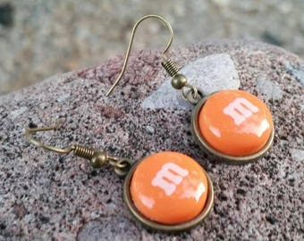 Orange M&M pendant Earrings - Fun Food Jewelry - Fashion Accessories - gifts for her