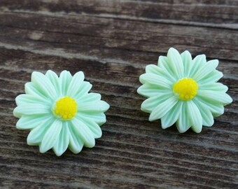 Green Daisy Button Earrings - Post or Clip on Jewelry - Large Flower Earrings - Womens Fashion - Gift Ideas