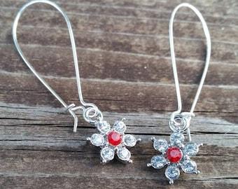 Red Rhinestone Flower Long Charm Earrings - Wedding accessories - gift ideas