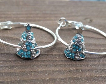 Silver and Light Blue Rhinestone Christmas Tree charm Hoop Earrings with Large Hole Eurpoean Bead Charm Accents - Gifts for her