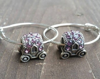 Silver and Pink Rhinestone Fairy Tale Carriage Bead Charm Hoop Earrings with Large Hole Eurpoean Bead Charm Accents - Gifts for her