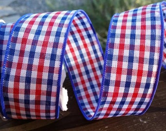 Red, White, and Blue Plaid Print Wire Edged Holiday Ribbon 1.5 inch wide 4th of July Independence Day USA America Decorations 1 yard