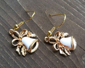 Little Gold and White Bells Charm Earrings with Bow Womens Jewelry - Valentine Earrings - Mothers Day Gifts - Christmas Holiday Accessories