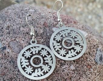 Silver Stainless Steel Flower Charm Earrings - Women's Fashion Jewelry Accessories - Gift Ideas