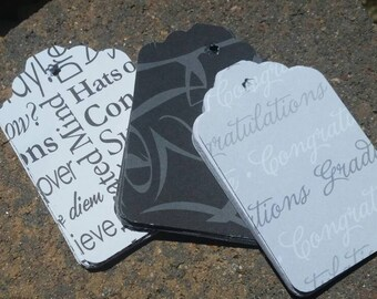 15 Graduation Gift Tags: Black and Gray Graduation Large 3 inch Gift Tags - Graduation Mortar Board Party Favor Tags - Retail Hang Tags