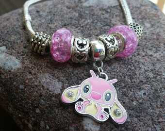 Pink Stitch Character Bracelet Charm on Silver snake Chain Bracelet with acrylic and alloy beads Childrens Jewelry - mom bracelet gift ideas