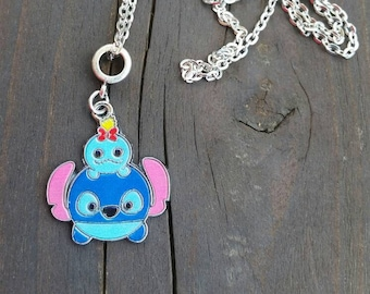 Lilo Doll and Stitch Character Necklace Charm on Silver Chain Necklace - Childrens Jewelry - kids necklace gift ideas