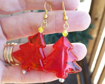Green or Red Christmas Tree Dangle Earrings, Large Plastic Holiday Earrings, Repurposed Ornament Jewelry, Stocking Stuffers, Gift Ideas