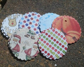 12 count 2 inch scallop circles gift tags for your special holiday scrapbook circles cardmaking - halloween, christmas, independence, baby