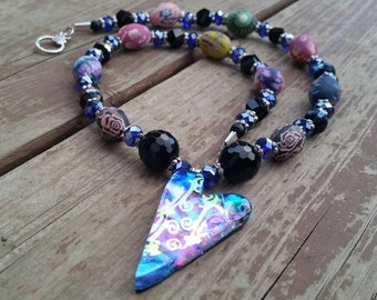 Dichroic Glass Heart Pendant Necklace with onyx gemstone and clay bead accents - Blue and Black Statement Necklace - Grad gift ideas