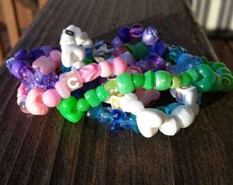 DANCE - 5 layer beaded Stretch Bracelet - Pink, Green, White, Blue, Purple
