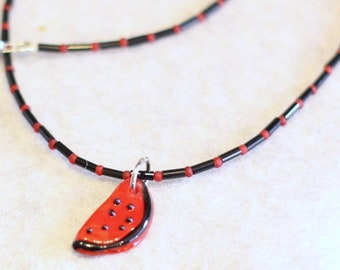 Watermelon Slice Glass Lampwork Bead on Seed Bead Necklace - Hand Beaded Necklace Strand - Summer Cookout and picnic jewelry