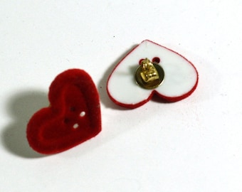 Red velvet Heart Button Earrings - Post Earrings - Repurposed Button Jewelry