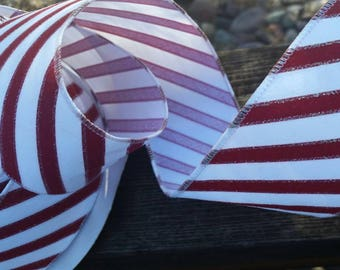 Dark Red and White Striped Handmade Candy Cane Tree Ribbon - 3 yards - Christmas 2.5 inch wide