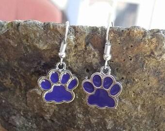 Clemson University Tigers School Mascot Logo Dangle Earrings in Sterling Silver