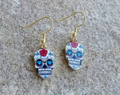Large Skull Charm Dangle Earrings Day of the Dead Painted Face, Dia de los muertos, Decorated Skeleton Halloween Costume Jewelry Gift Ideas
