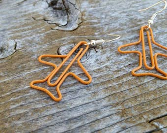 Orange Plane Paperclip Charm Earrings - Fun Fashion Jewelry Accessories