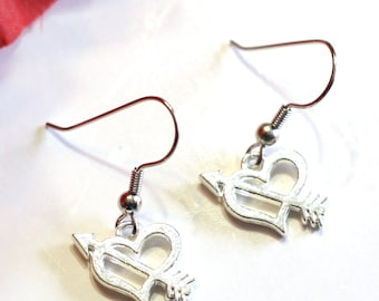 Bow and Arrow Cupids Heart Valentine Charm Earrings / womens earrings / girls earrings / womens jewelry / holiday