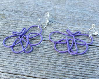 Purple Butterfly Paperclip Earrings - Repurposed Paperclip Jewelry - Clip on and Hook Available