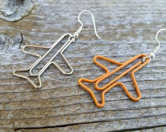 Orange and Silver Mix-Match Plane Paperclip Charm Earrings