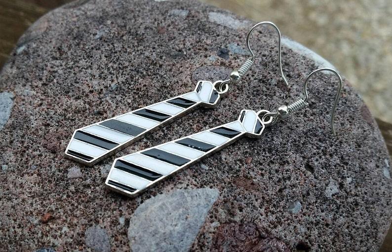 Black and White Neck Tie Earrings: Fun Enamel Charm Jewelry image 0