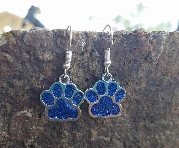 Dog Cat Foot Tween Teens College University Jewelry Wildcats Bears Cubs High School Spirit Mascot Blue Glitter Paw Print Charm Earrings