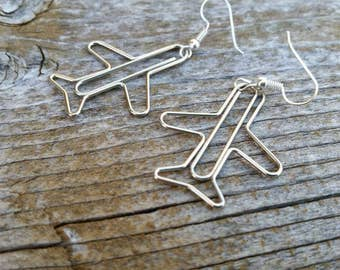 Silver Plane Paperclip Charm Earrings - Fun Fashion Jewelry Accessories