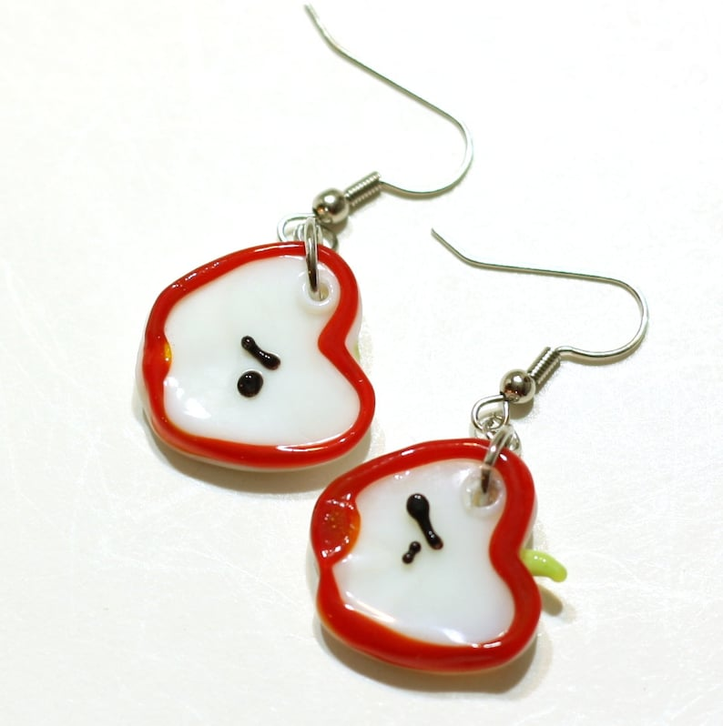 03d48fe35c44b Apple Slice Earrings - Glass Lampwork Bead Earrings for that day when you  feel a little fruity - Clip on and 925 sterling silver available