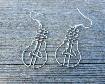 Silver Guitar Paperclip Earrings - Repurposed earrings available in 925 sterling silver, clip-on, or alloy hook - Rock Star Jewelry