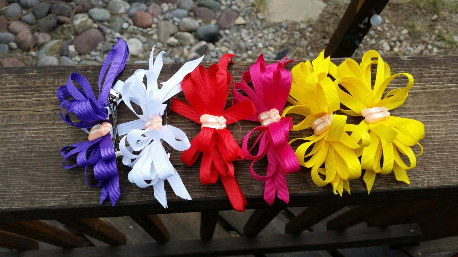 purple, white, red, pink, or yellow grossgrain 3/8 inch ribbon w ballet slippers center french clip hair bow - gifts for balleri