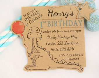 X10 Boys Birthday Party Invites Dinosaur Invitations Tags Personalised 1st 2nd 3rd