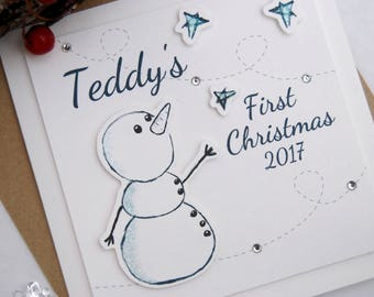 Babys First Christmas Card Personalised Snowman Baby Girl Baby Boy 1st Christmas