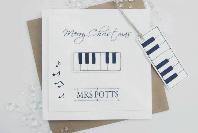 Piano Teacher Thank You Card Merry Christmas Happy Birthday