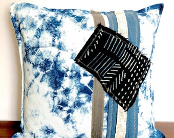 Hand dyed Indigo pattern pillow cover with mud cloth & vintage fabric  detail