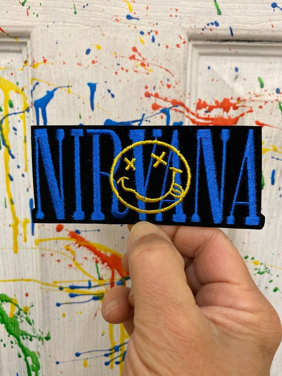 Nirvana blue gold smile iron on patch