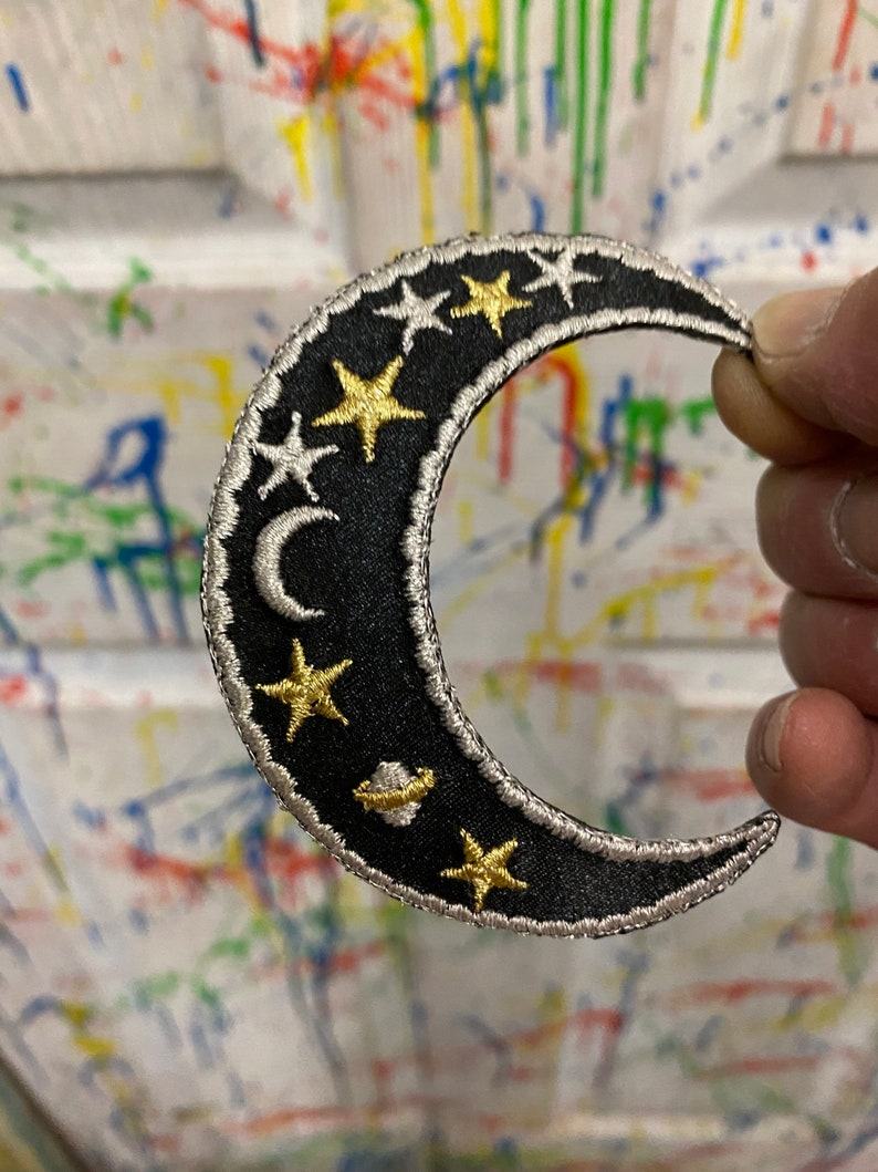 Crescent moon black gold silver symbols iron on patch